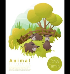Cute animal family background with Cows 3 vector image