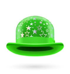 Green starred bowler hat vector image vector image
