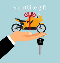Man hand holding gift sportbike vector
