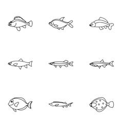 Marine fish icons set outline style vector image vector image