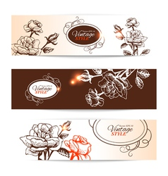 Vintage banners with hand drawn roses vector image vector image