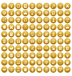 100 education technology icons set gold vector