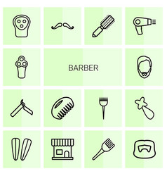 14 barber icons vector