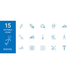 15 shovel icons vector image