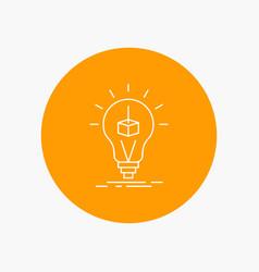 3d cube idea bulb printing box white line icon in vector