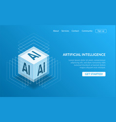 3d isometric view of cubic shape ai processor chip vector image