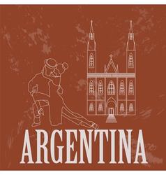 Argentina landmarks Retro styled image vector