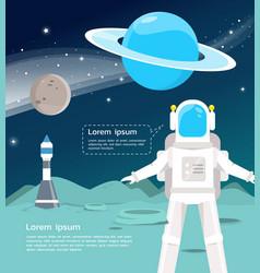 Astronaut with spaceship surveying around uranus vector