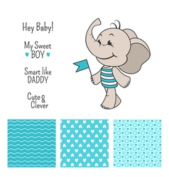 Baelephant blue design with seamless patterns vector