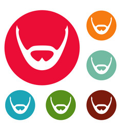 Beard and whiskers icons circle set vector