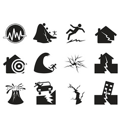 Black earthquake icons set vector