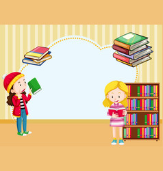 border template with girls reading book vector image