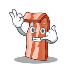 call me bacon mascot cartoon style vector image