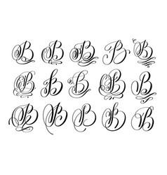 Calligraphy lettering script font b set vector