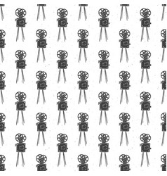 camera vintage seamless pattern handdrawn sketch vector image
