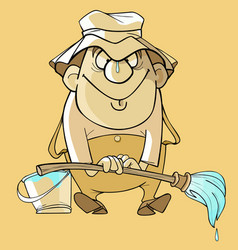 cartoon funny painter with brush and bucket vector image