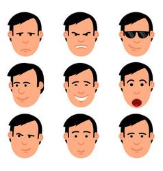 Cartoon man head set emoji vector
