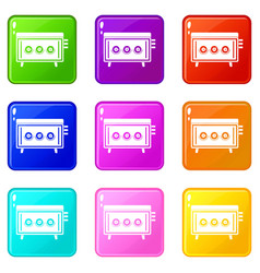 Cd changer icons 9 set vector