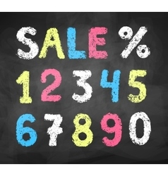 Chalked collection of numbers vector