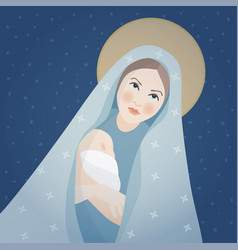 christmas greeting card invitation saint mary vector image