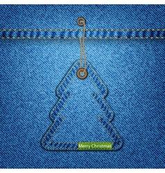 Christmas tree on the denim texture vector image