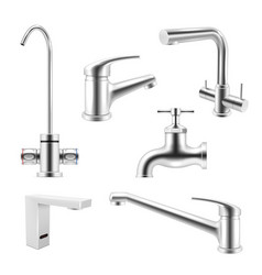 collection realistic chrome water tap vector image