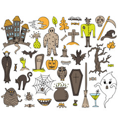 Colorful set with hand-drawn halloween doodles vector