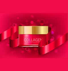 cosmetic face cream box with red ribbon vector image