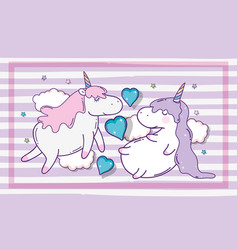 Cute unicorns couple sticker with hearts and stars vector