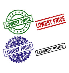 Damaged textured lowest price seal stamps vector