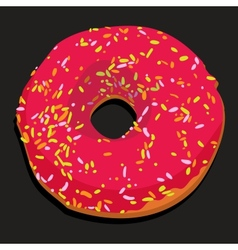 Delicious donut with colorful icing vector image