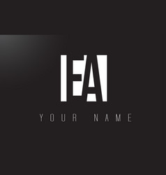 Ea letter logo with black and white negative vector