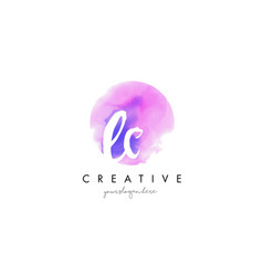 Ec watercolor letter logo design with purple vector