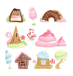 Fantasy desserts chocolate caramel biscuits jelly vector