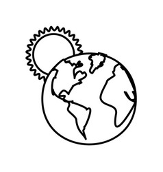 figure earth planet with sun icon vector image