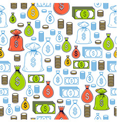 financial icon set seamless background dollar vector image