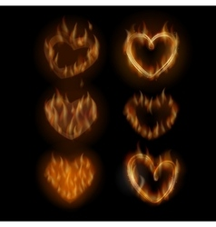 Fire hearts set vector
