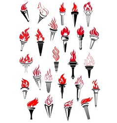 Flaming torches in vintage style vector