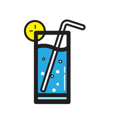 Flat color cold drink icon vector