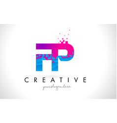 Fp f p letter logo with shattered broken blue vector