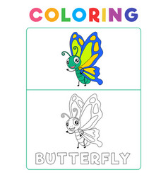 Funny butterfly coloring book with example vector