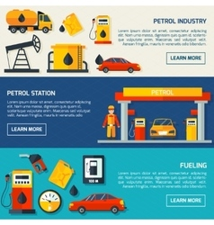 Gas petrol station flat banners set vector image