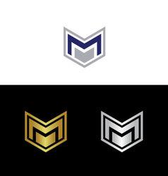 Geometric letter M vector image