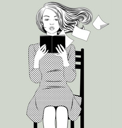 girl with flying hair sitting on chair and vector image