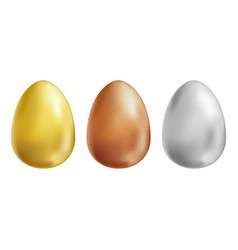 gold white and brown eggs set on white background vector image