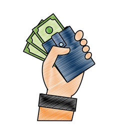 grated hand with bill cash money and wallet vector image