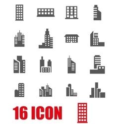 Grey building icon set vector