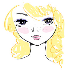 Hand-drawn cute girl face with messy blond hair vector