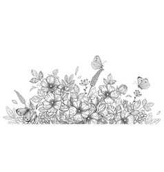 hand drawn wild flowers dog-rose and butterflies vector image
