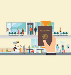 hand holding passport book and boarding pass vector image